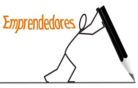 La palabra Emprendedores escrita en naranja y seguido de ella un monigote está empujando un gran lápiz dibujando una línea en el suelo