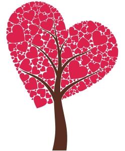 Un arbo cuyas tronco y ramas entran en el corazón rojo que es la copa del árbol